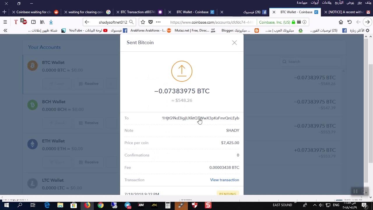 coinbase bitcoin deposito in sospeso
