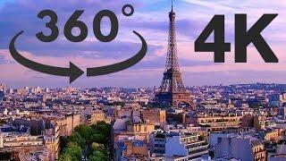 Paris - 360 VR 4K visit of the city - Eiffel Tower - Notre dame de Paris - Arc de Triomphe