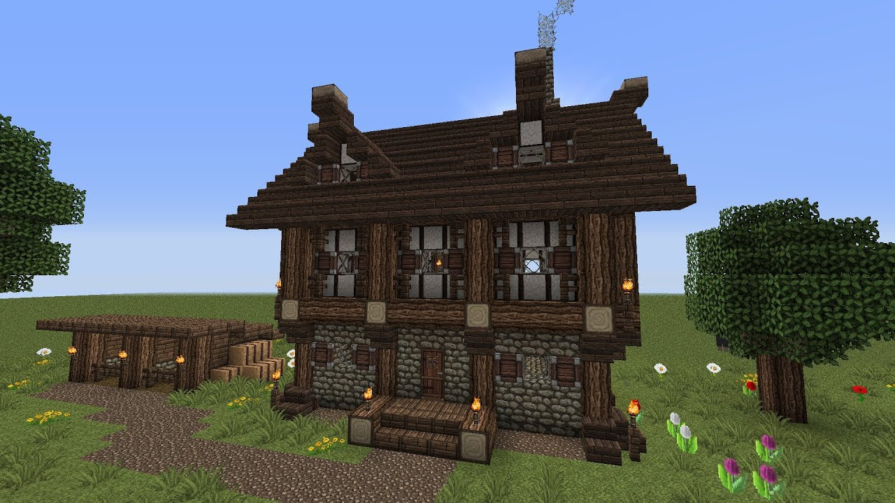 Small Two Story House Plans Minecraft 2 Story Medieval House W Horse Stablestutorial