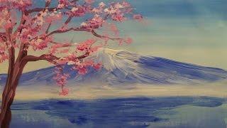Как нарисовать гору и дерево гуашью [Картина за 3 минуты!](Видеоурок рисования горы и цветущего дерева гуашью. Материалы, которые нужны для рисования этой картины:..., 2015-01-30T11:36:23.000Z)