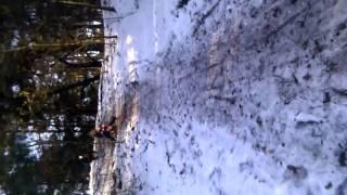 Jakob Maya en Hidde Camstra in de sneeuw op de slee