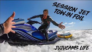 1ÈRE SESSION AVEC LE JET (tow-in foil sur le reef du large 🤩🤙🤙)