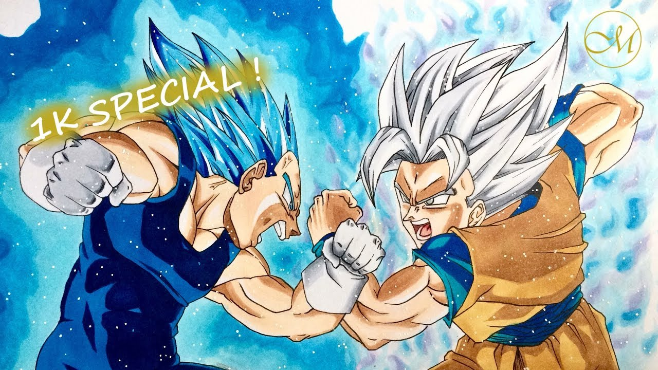 Drawing goku super mastered ultra instinct vs vegeta beyond god 1k special youtube - Dessin de vegeta ...