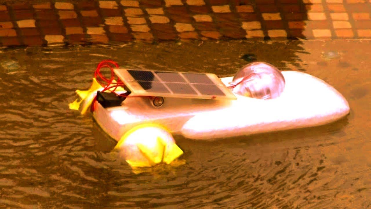 Hybrid Solar-Battery Powered Engine Boat - YouTube