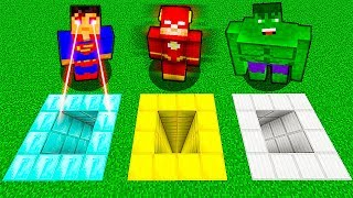 КАКУЮ ЯМУ ВЫБЕРЕТ СУПЕРГЕРОЙ В МАЙНКРАФТ? Нубик против Супермен, Флеш и Халк в Minecraft