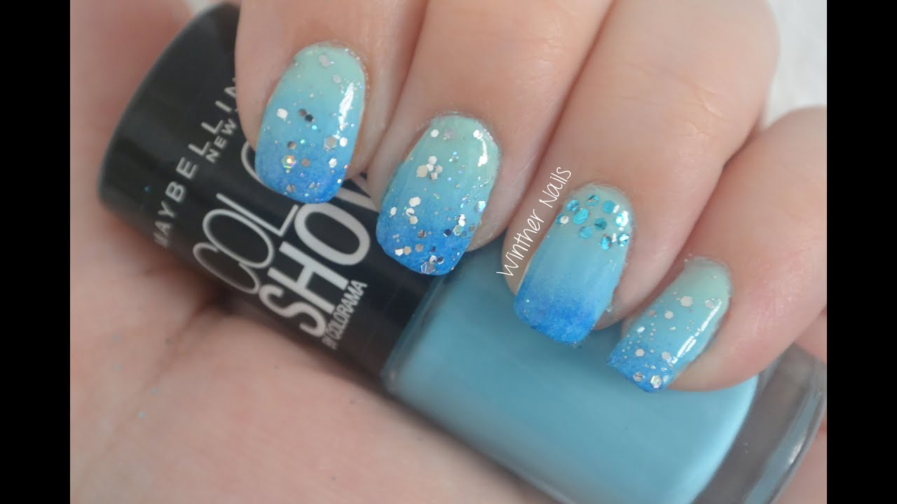 Simple Blue Gradient With Glitter Nail Art Tutorial Youtube