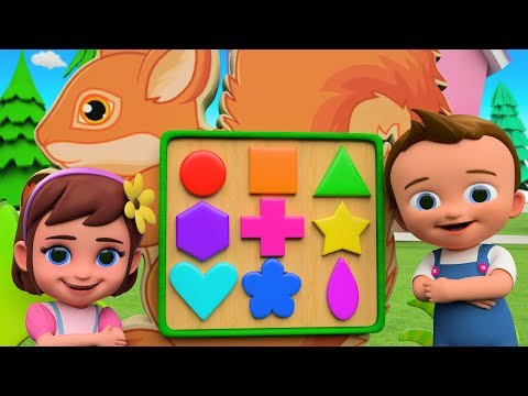 Squirrel Shapes Puzzle Toy Set 3D   Little Babies Learning Shapes for Kids - Cartoon Videos