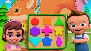 Little Babies Fun Play With Squirrel Shapes Puzzle Toy Set 3d  Learning Shapes Kids Cartoon Videos