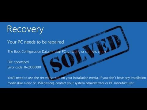 Solucionar error 0xc000000f || Reparar windows 10 || Windows no enciende
