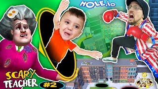 Download SCARY TEACHER falls in HOLE.io + HUGE FGTEEV GRANNY SECRET LEAKED (Miss T #2) Mp3 and Videos