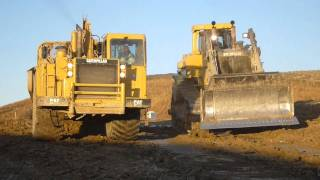 Yes, We Load Downhill - Cat D11R Loading 651E Scrapers