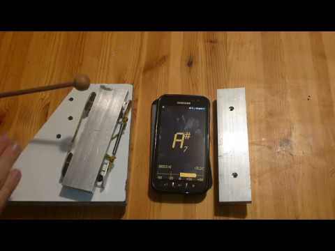 Harmonic tuning of xylophone bar with android phone