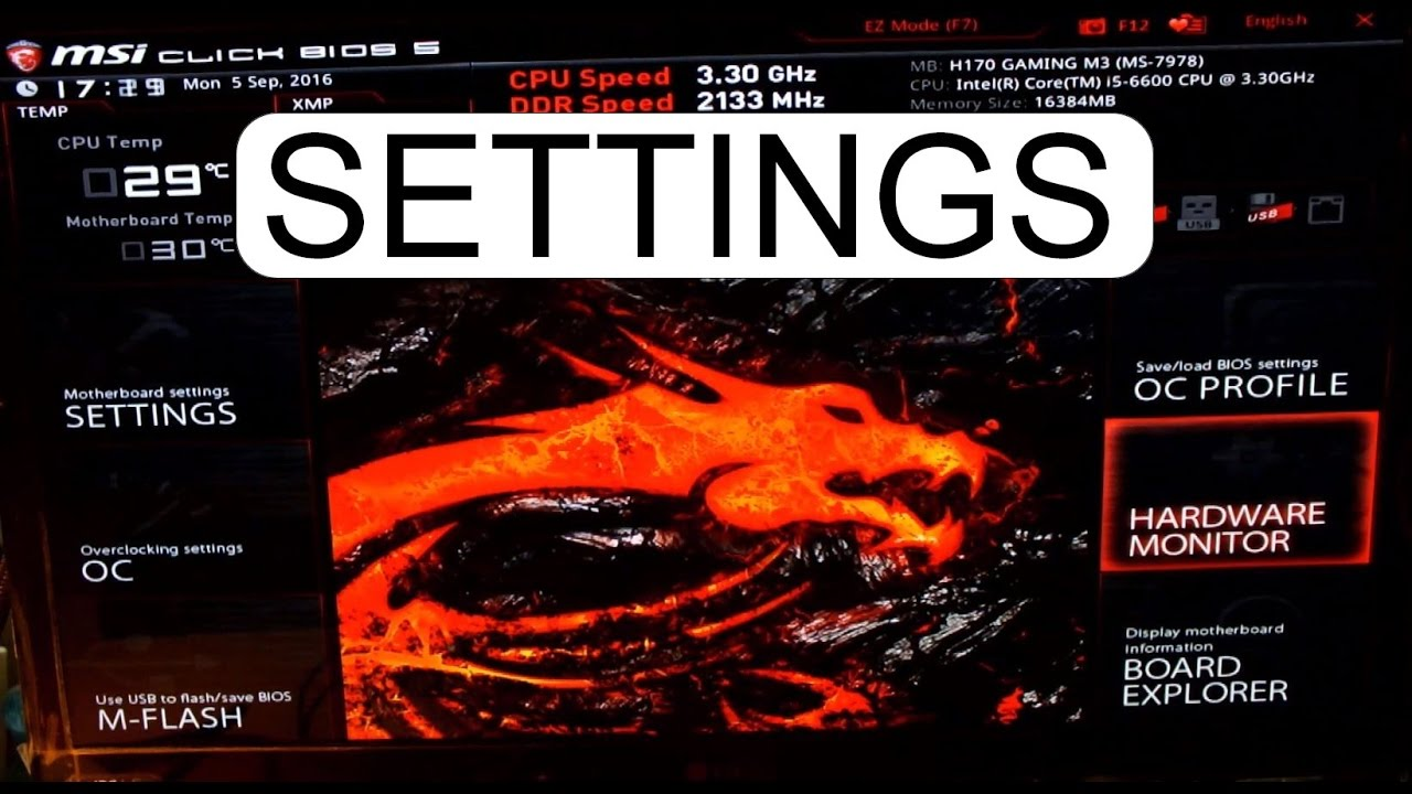 DEFAULT SETTINGS MSI CLICK BIOS 5