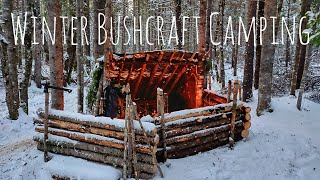 Winter Overnight Bushcraft Camp after SnowStorm| Bushcraft Table and Pot Hang | Campfire Cooking