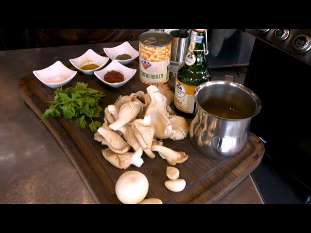 Kichererbsen-Pilz-Bier-Eintopf mit