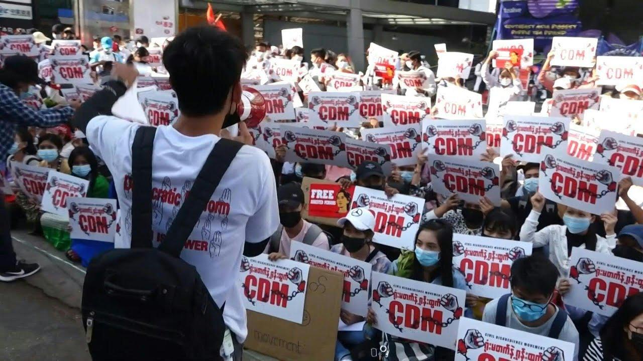 Image result for Nono dia consecutivo de protestos em Mianmar