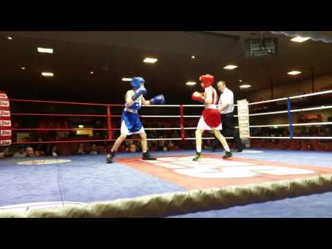 Irish boxing RYAN GILL getting robed in the national boxing stadium finals.