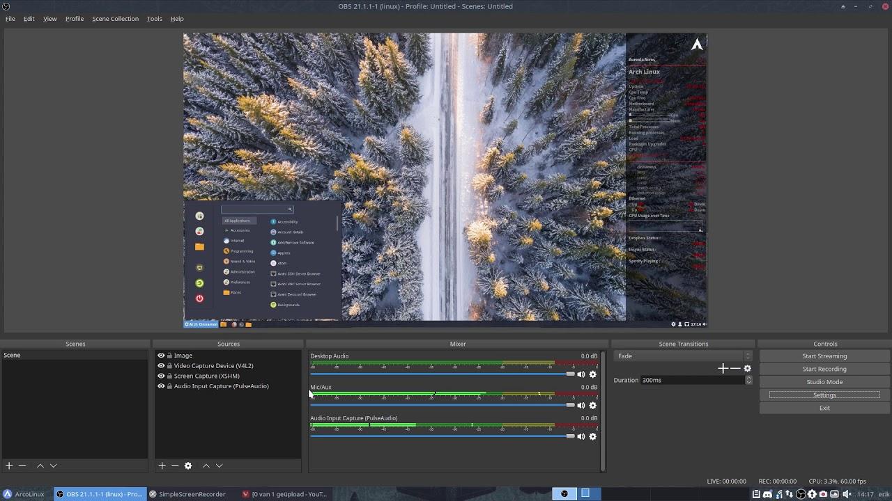 A quick tutorial how to set up obs-studio   Arcolinux com