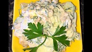 Салат с курицей и огурцом. Простой салат.