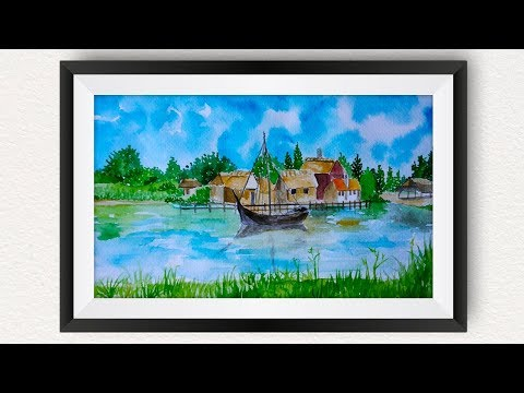 Middelaldercentret watercolor painting for beginners | How to draw beautiful lake scenery landscape