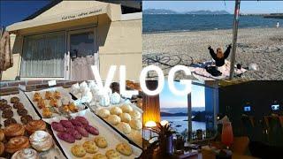 여수 카페 투어 vlog | 만성리 검은 모래 해변에서…