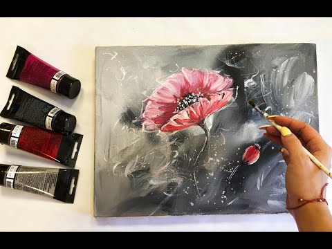 How to make Abstract Flower Painting on canvas Acrylic Easy Techniques