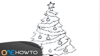 How to Draw a Christmas Tree to Color In