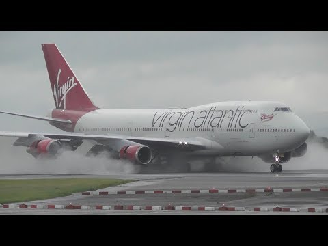 Wet Runway landings at Manchester Airport, RW23R | 04-08-17