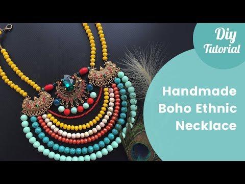 DIY Boho Fancy Tribal Necklace. Jewelry making tutorial.