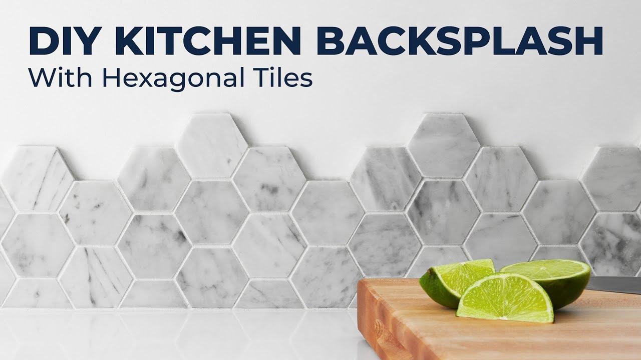diy marble backsplash with hexagon tiles