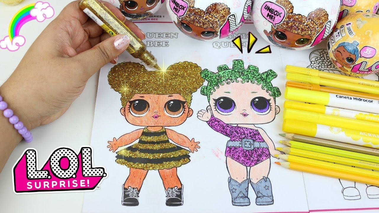 Lol Surprise Doll Colorindo Queen Bee Rara Na Revista Lol Surpresa Com Desenhos Atividades E Adesivo