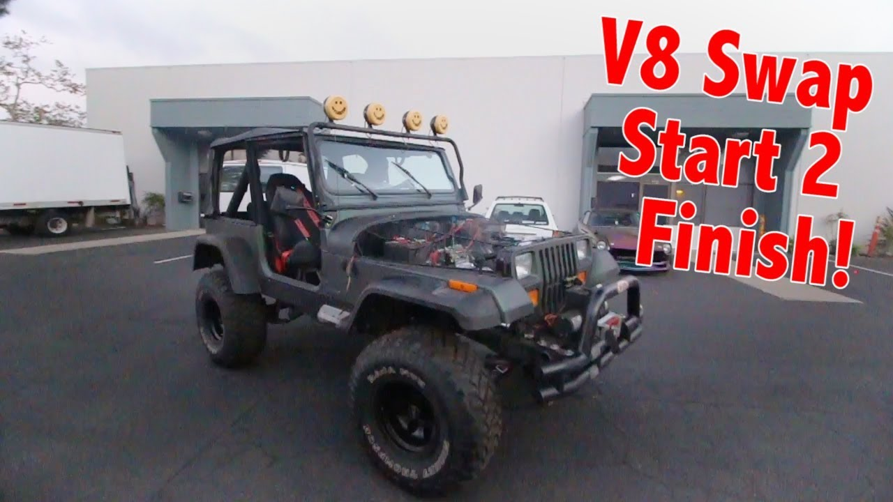 V8 Swapping An Old Jeep In 13 Minutes Youtube