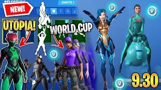 *NEW* All Fortnite v9.30 Leaked Skins & Emotes! (Utopia, World Cup, Bouncer, Shadow Legends) *HUGE*