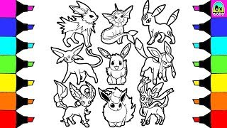 Pokemon Oshawott Coloring Pages. Pokemon Coloring Pages Eevee Sylveon Jolteon evolution Colouring book fun  for kids Unova Starter Tepig Oshawott Snivy