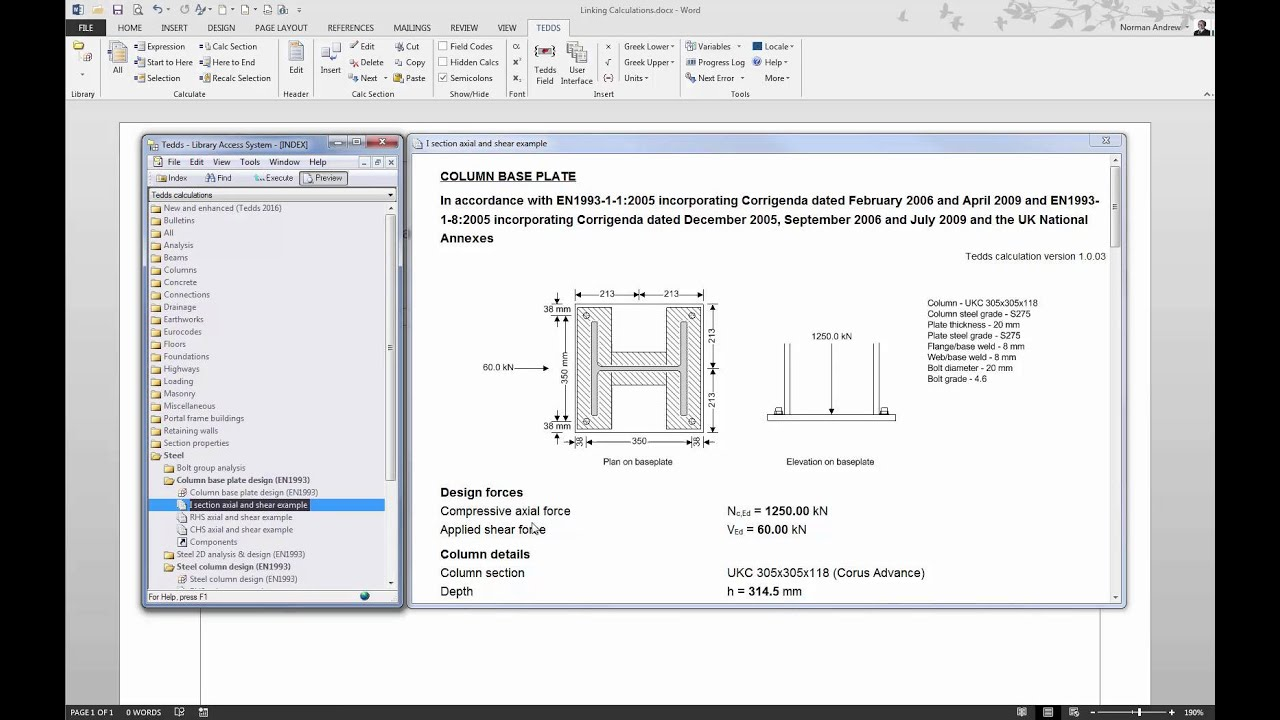 Linking Tekla Tedds Calculations Youtube