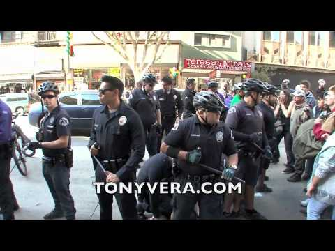 Los Angeles Police Use excessive force to arrest on Occupy L.A. protester  12/03/11