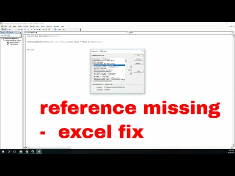 reference missing error fix using in excel | vba late binding