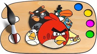 Download lagu Angry Birds Drawing & Coloring | Coloring pages for kids | speedpaint with sketch | Coloring book