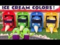 Learn Colors with the Funny Funlings Play Doh Ice Creams in the Tayo Garage