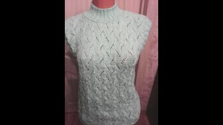 Краткий обзор Женский жилет спицами мастеркласс красивыйузор вязание knitting лучшее мк