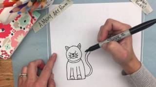 A Messy Art Room: How to Draw a Simple Cat