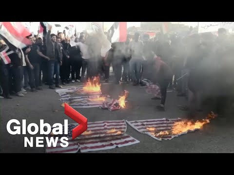 Iraq Protesters Burn American Flags In Rally Against U.S. Military Strikes On Militia