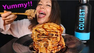 STACK OF PANCAKES BREAKFAST MUKBANG | Eating Show