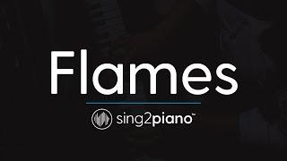 Flames (Piano Karaoke Instrumental) David Guetta & Sia