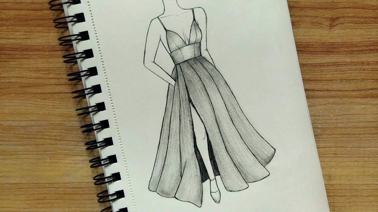 Uzun Elbise Çizimi 💃 Moda Tasarım Çizimleri