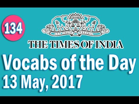 The Times of India Vocabulary (13 May, 2017) - Learn 10 New Words with Tricks | Day-134