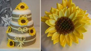 Sunflowers Cake and How to do fondant Sunflower / Flowers Cake