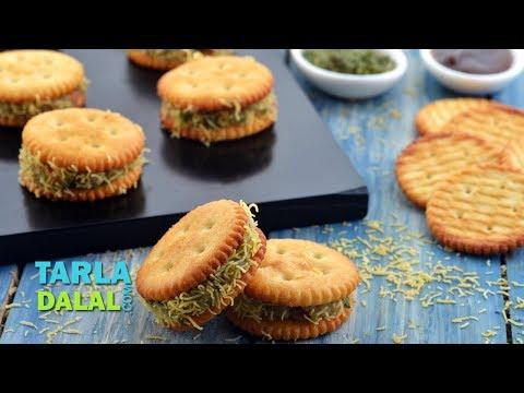 स्टफ्ड मोनाको बिस्कुट सेव पूरी - Stuffed Monaco Biscuit Sev Puri By Tarla Dalal