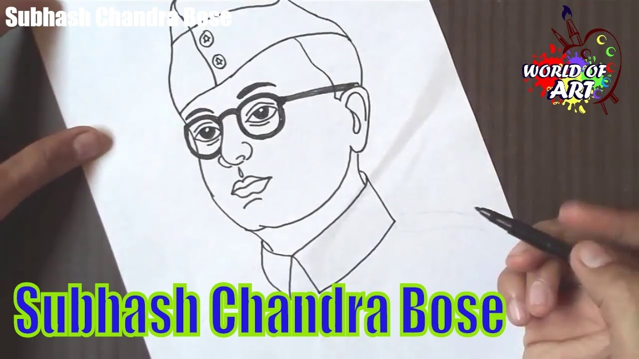 Subhash Chandra Bose Drawing Step By Step Learn How To Draw Freedom Fighter Drawing For Kids Youtube