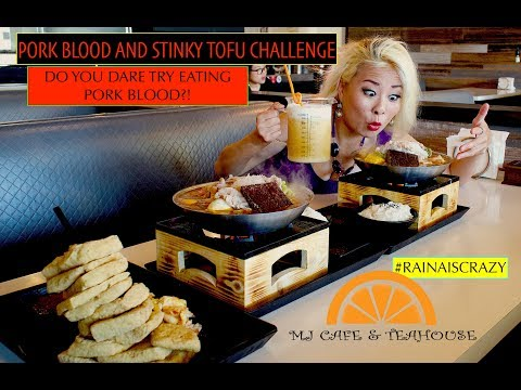 PORK BLOOD AND STINKY TOFU CHALLENGE?!   MJ Cafe and Teahouse Collaboration   RainaisCrazy